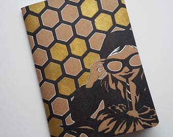 A5 Hand illustrated sketchbook- gold details