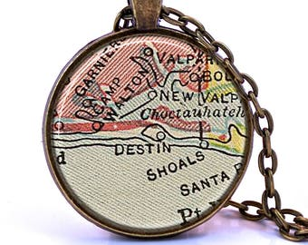 Destin, Florida Map Pendant Necklace - Created from a vintage map published in 1927.