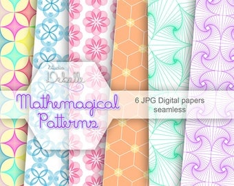 Mathemagical - digital papers seamless pattern