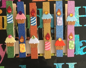 Colorful Birthday Themed Decorative Clothespins