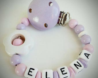 """Home """"flower"""" pink and purple pacifier - model """"Elena"""""""