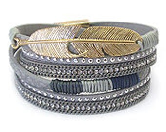 Metal feather and crystal wrap bracelet