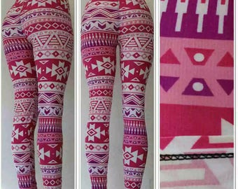 Pink Aztec Print Leggings