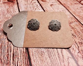 Silver Floral Stud Earrings