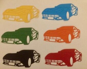6 x coloured sports cars Die Cuts