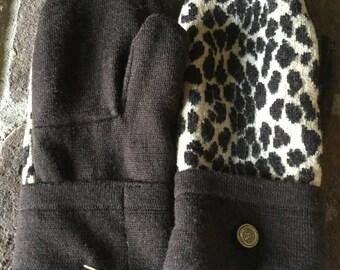 Wool Sweater Mittens Leopard Print