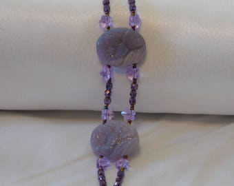 Lavender Purple German Glass Swarovski Crystal Beaded Bracelet