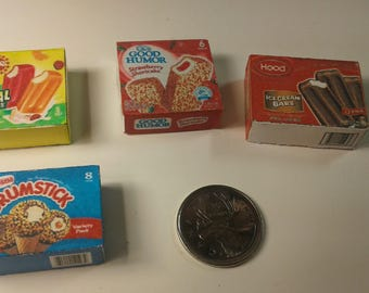 Dollhouse Miniature Ice Cream Bar Snacks Nestle Drumstick, Good Humor, Hood Ice cream bars, and Cream-sickle    1:12 Scale