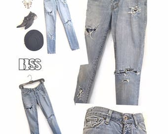 LEVI'S HAND DISTRESSED 521 Ultra Low Skinny Jeans Denim Washed Blue Holes Ripped Worn In