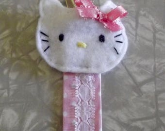 Hello Kitty Pacifier Clip/Binky Clip/Paci Clip - Pink and White