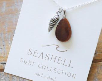 Seashell Charm & Gem Pendant Necklace