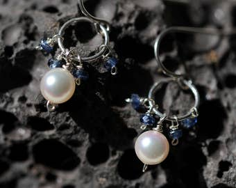 Akoya pearls, blue sapphires, and sterling silver earrings
