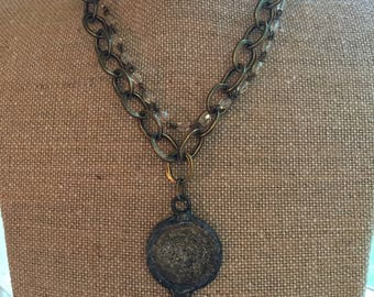 Antique brass chain with Amen pendant