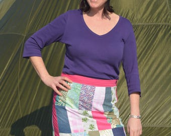 Retro Hippy Chic Patchwork Skirt - Size 12