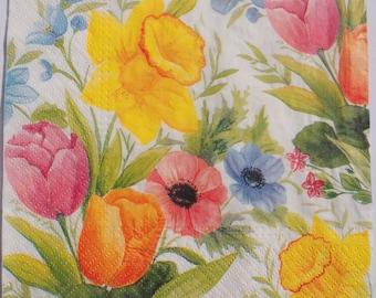 4 Decoupage Paper Napkins Colourful Flowers Decoupage Craft Scrapbooking 024
