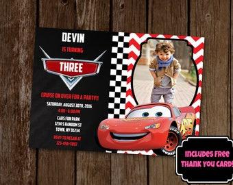 Cars Invitation, Cars Birthday Party, Lightning McQueen Invitation, Lightning McQueen Birthday Invite, Race Car Birthday Invitation