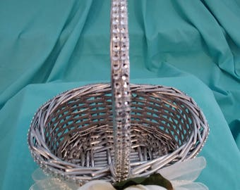 Silver Flower Girl Basket