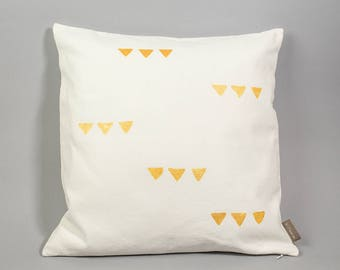Handpainted in old linen Cushion cover
