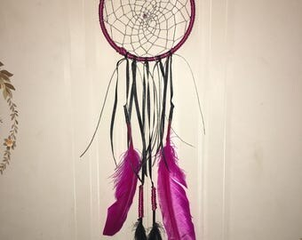 Pink and black large dream catcher