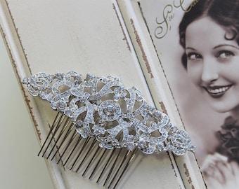 Silver Art Deco Hair Comb , Art Deco headpiece, Vintage Style Crystal Hair Comb,  Bridal Headpiece, Wedding Hair Comb