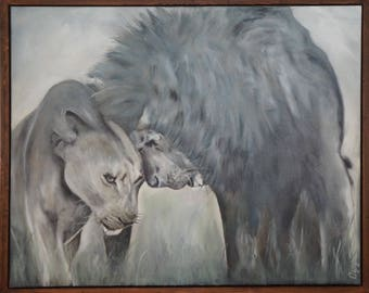 Picture on canvas Lions