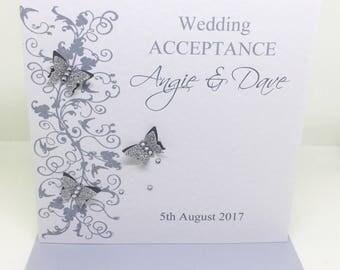 Beautiful Handmade Personalised Wedding Acceptance Card