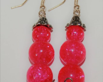 Glass Earrings Full Moon Jewelry- Made by order