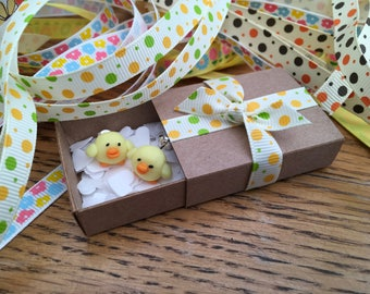 Chick Earrings , Easter, Spring, Sterling Silver, with gift box