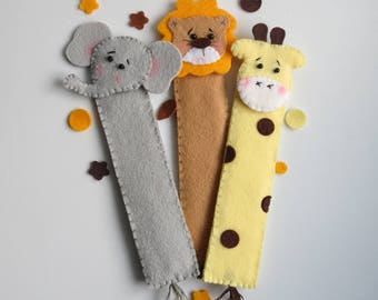 3 Felt bookmarks-Jungle friends bookmarks-Readers gift-Back to school gift-Giraffe bookmark-Elephant bookmark-Lion bookmark-3 bookmarks set