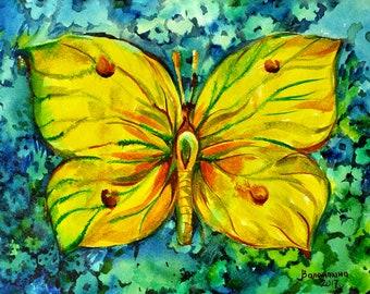 Fine Art Watercolo Butterfly, Lemon Tree Painting-Original Watercolour Home Decor
