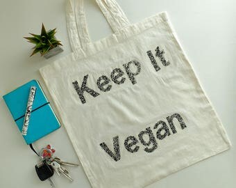 Keep It Vegan*Vegan bag*Tote bag*Shopping bag*Quote bag*Organic bag*Cotton raw bag*Grocery bag