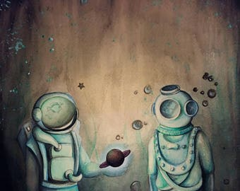 Watercolor on paper, astronaut, deep sea diver, ocean, space, surrealism, psychedelic