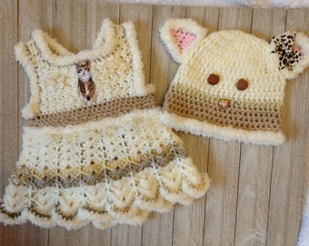 Crochet Newborn Sundress, baby girl cat hat and dress with attached diaper cover, Critter clothes, baby clothes