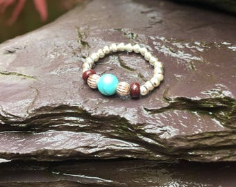 Sterling silver stretch bead toe ring with turquoise and chocolate gem stones comfy