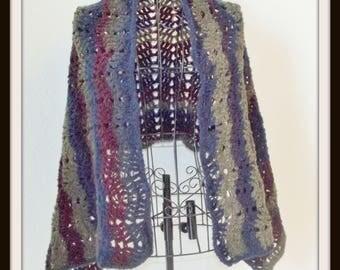 Blue Wrap, Crochet Wrap, Wrap, Cover Up, Lace Cover Up, Light Weight Wrap, Cozy Wrap, Rectangle Wrap, Rectangle Crochet Wrap