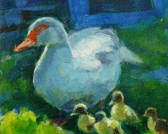 "Original paintings, ""Flugente"", Acryl auf MDF-Platte, 15 x 15 cm, daily painting"