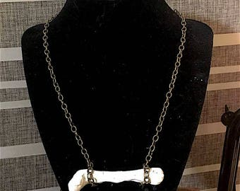 Single plaster bone necklace. Handcrafted, one of a kind.