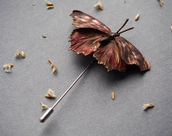 Copper Butterfly Brooch, electroforming