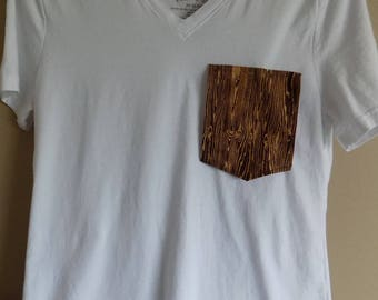 Retro wood grain pocket tee shirt