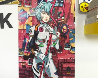 "Rei Ayanami print - Neon Genesis Evangelion - 12 x 18"", illustration, wall art, poster print, anime, art, fine art print, poster, pinup"