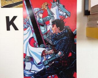 "Guts & Griffith print - Berserk - 12 x 18"", illustration, wall art, poster print, anime, art, fine art print, poster, manga, comic, sword"