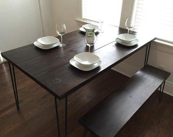 Modern Mid Century Dining table with 2 benches