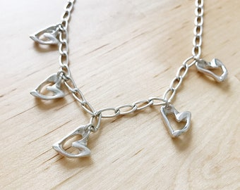 Unique Sterling Silver Heart Toggle Necklace