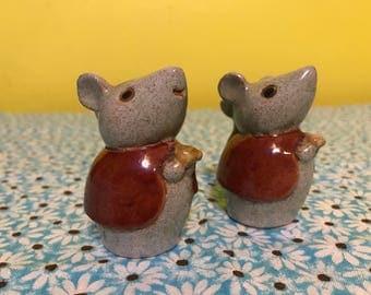 Vintage Handmade Mice Salt and Pepper Shakers