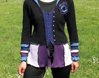 Patchwork in knitwear processed black blue purple hooded vest
