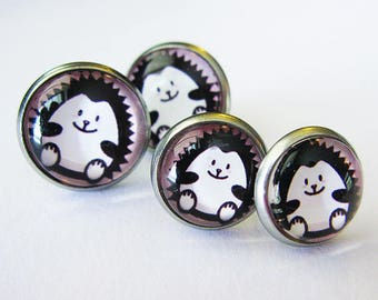 Earring cabochon mother and daughter / Hedgehog