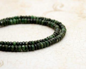 Dark Green Turquoise Faceted Rondelle Beads Natural Gemstone (2mm x 4mm)