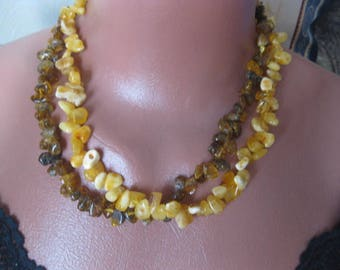 "Amber necklace ""Prince and the Pauper"" of 2 strings of natural amber"