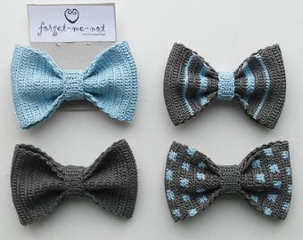 Crochet bow tie in blue and gray