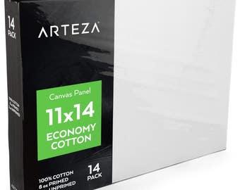 Arteza 11 X 14 Canvas Panels, Economy-Cotton (Pack of 14)